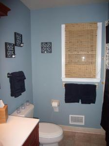 I love the blue in this bathroom so much that it's my favorite room in the house!